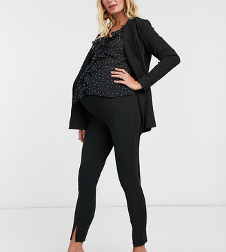 ASOS DESIGN Maternity jersey slim split front suit trousers in black