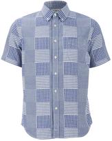 Edwin Men's Short Sleeve Patchwork Shirt Blue