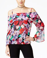 XOXO Juniors' Floral-Print Off-The-Shoulder Blouse