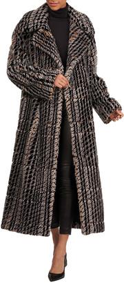 Oscar de la Renta Houndstooth Mink-Fur Coat