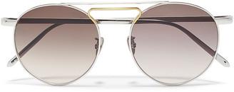 Linda Farrow Aviator-style Silver And Gold-tone Sunglasses