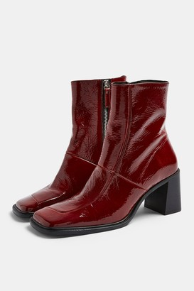 Topshop MILAN Red Block Leather Boots