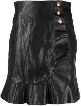 Pinko Asymmetric Leather-Look Ruffle Skirt
