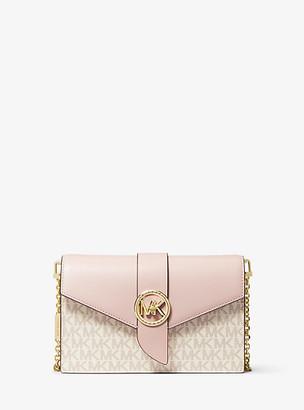 MICHAEL Michael Kors MK Medium Logo and Leather Convertible Crossbody Bag - Vanilla/soft Pink - Michael Kors