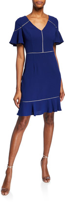 Shani V-Neck Short-Sleeve Crepe Flounce Dress