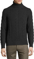 Luciano Barbera Cashmere Cable-Knit Turtleneck Sweater, Gray