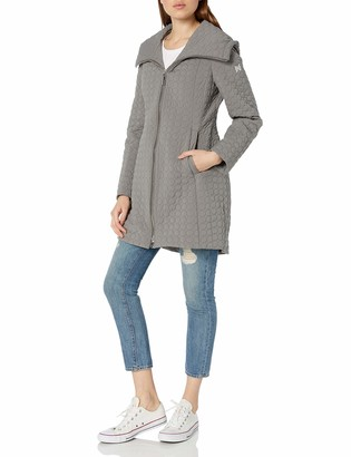 Dawn Levy Women's Gwena Stiched Pattern Water Repellent Coat with Oversized Hood