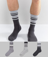 Asos Sports Style Socks With Textured Design 3 Pack