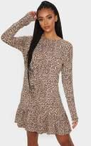 PrettyLittleThing Brown Leopard Print Long Sleeve Frill Hem Shift Dress
