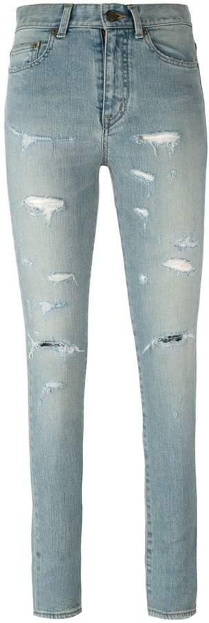 Saint Laurent destroyed skinny jeans