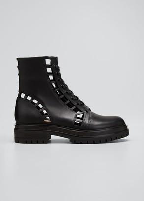 Gianvito Rossi Cutout Leather Zip Combat Booties