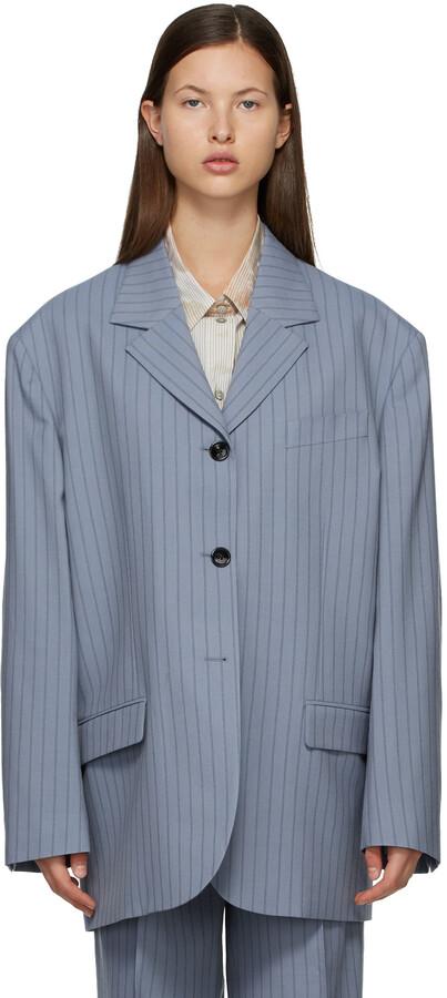 Acne Studios Blue & Navy Wool Pinstripe Suit Blazer