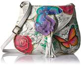 Anuschka Anna Handpainted Leather Flap Hobo,Floral Paradise