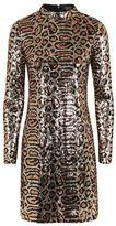 Topshop Animal Print High Neck Dress