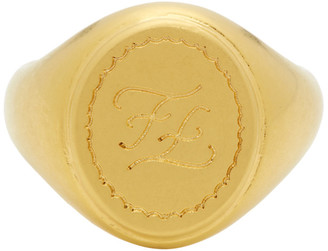Fendi Gold Karligraphy Signet Ring