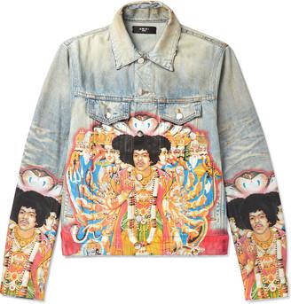 Amiri Printed Distressed Denim Jacket - Men - Blue