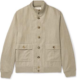 Valstar Valstarino Slim-fit Wool And Linen-blend Bomber Jacket - Neutrals