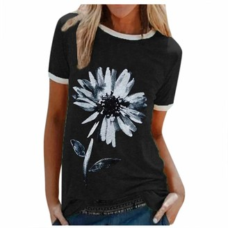VEMOW Store Floral Graphic T Shirt for Women