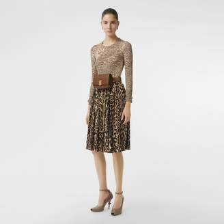 Burberry Leopard Print Stretch Silk Pleated Skirt