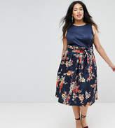 Asos Paperbag Scuba Prom Skirt In Navy Floral