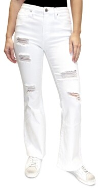 Almost Famous Juniors' Distressed High-Rise Flared Jeans