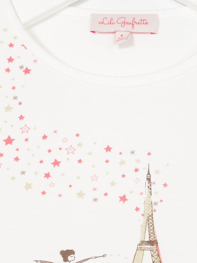 Lili Gaufrette ballerina Eiffel Tower print top