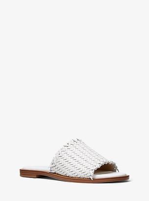 Michael Kors Dee Woven Leather Slide Sandal