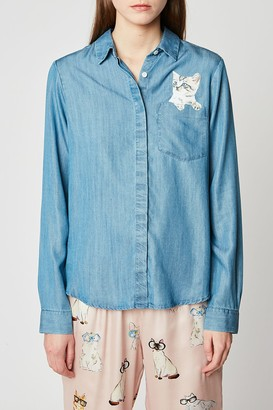 Paul & Joe Sister Billie Cat Pocket Denim Blouse