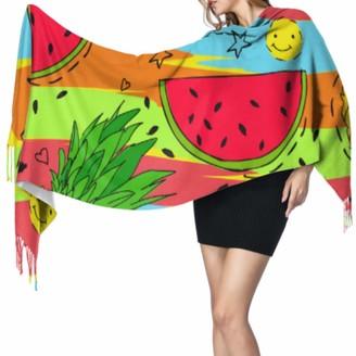 Yushg Fashion Art Fruit Watermelon Line Doodle Shawl Wrap For Women Winter Cashmere Scarf Shawl And Wraps 77x27inch/196x68cm Large Soft Pashmina Extra Warm