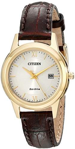 Citizen Watch women's Eco Drive Watch with Gold Dial analogue Display and brown leather Strap FE1082-05A