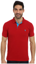 U.S. Polo Assn. Slim Fit Solid Pique Polo w/ Contrast Color Striped Under Collar