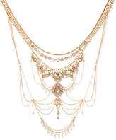 """GUESS Gold-Tone Multi-Stone Statement Necklace, 18"""" + 1"""" extender"""