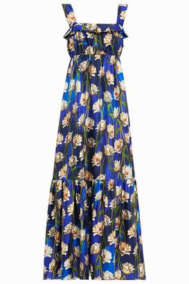 Borgo de Nor Amina Ruffled Floral-print Silk-twill Midi Dress