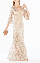 BCBGMAXAZRIA Raylan Deep-V Metallic Floral Embroidered Gown