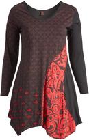 Aller Simplement Black & Red Floral Wave Scoop Neck Handkerchief-Hem Tunic - Plus