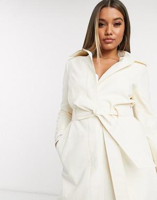 Helene Berman coated trench coat in white