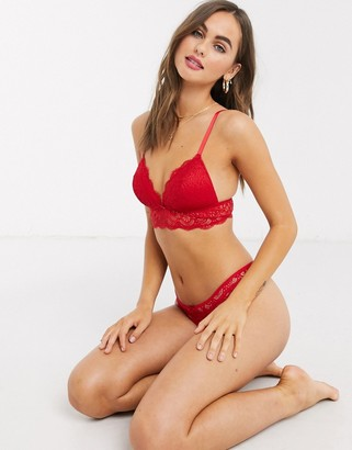 New Look padded lace bralette in red