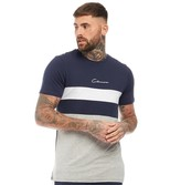 Closure London Mens Script T-Shirt With Contrast Panel Navy/White/Grey