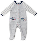 Little Me Newborn/Infant Boys) Embroidered Train Velour Footie