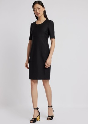Emporio Armani Short-Sleeved Sheath Dress In Fresh Wool