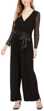 Jessica Howard Petite Sequin-Sleeve Jumpsuit