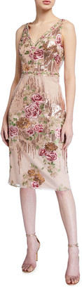 Marchesa Sleeveless Floral Embroidered V-Neck Sequin Sheath Dress