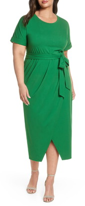 ELOQUII Faux Wrap Knit Dress
