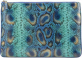 Barneys New York Peacock-Pattern Large Zip Case