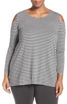 Vince Camuto Plus Size Women's 'Paulor Stripe' Jersey Cold Shoulder Top