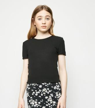 New Look Girls Ribbed Frill T-Shirt