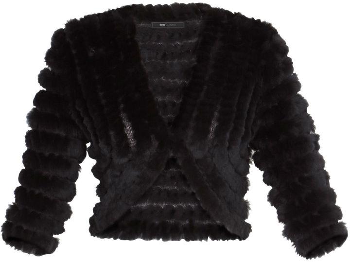 BCBGMAXAZRIA Peyton Elbow-Sleeve Fur Shrug