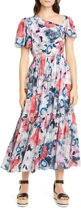 Erdem Floral Print Asymmetrical Neck Silk Midi Dress