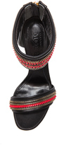 Alexander McQueen Layered Zip Sexy Leather Sandals in Wolf Black & Red