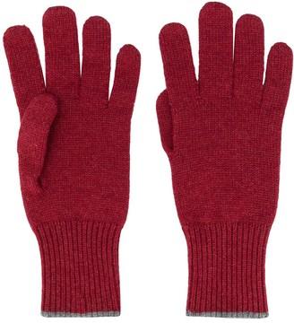 Brunello Cucinelli Contrast-Trimmed Cashmere Gloves